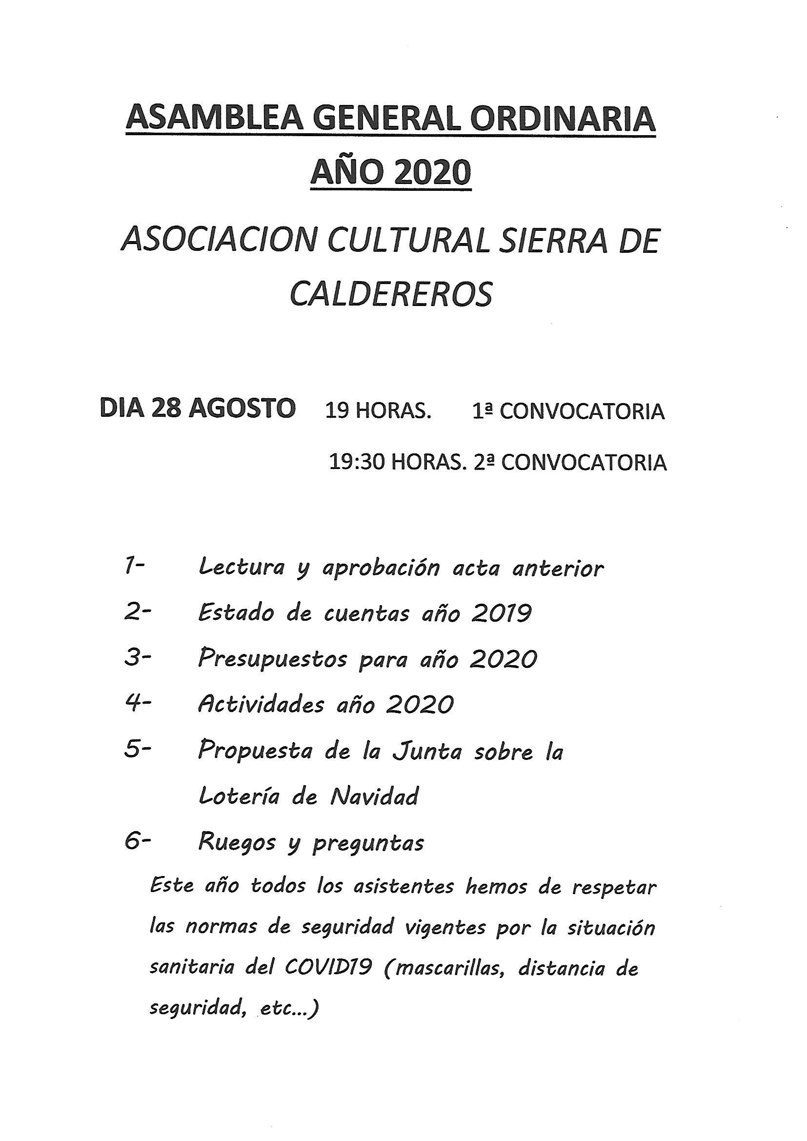Asamblea General Ordinaria Año 2020